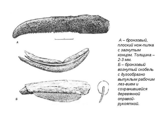 А – бронзовый, плоский нож-пилка с загнутым концом. Толщина – 2-3 мм. Б – бр...
