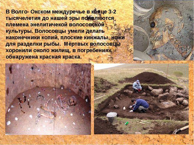В Волго- Окском междуречье в конце 3-2 тысячелетия до нашей эры появляются пл...