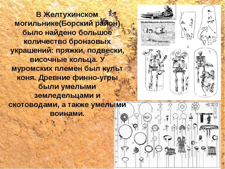 В Желтухинском могильнике(Борский район) было найдено большое количество брон...
