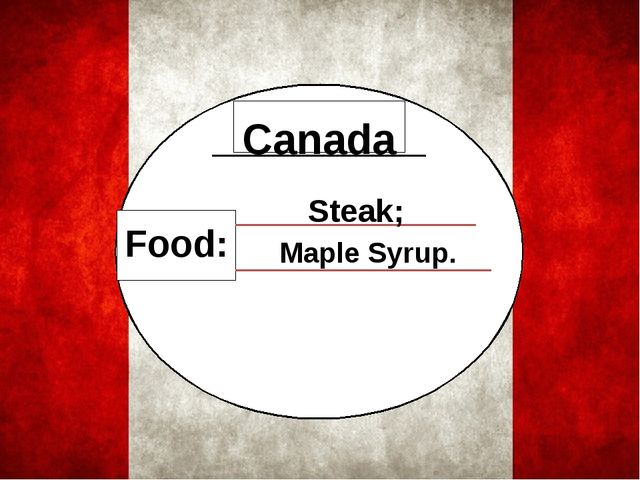 Food: Canada Steak; Maple Syrup.