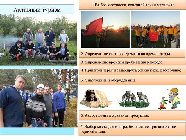 Активный туризм 1. Выбор местности, конечной точки маршрута 2. Определение св...