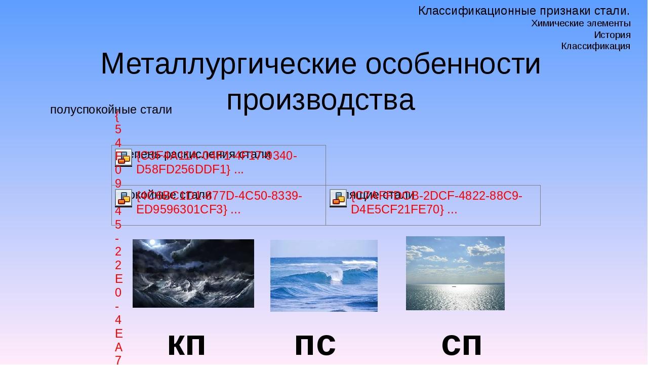 Металлургические особенности производства кп пс сп Классификационные признаки...