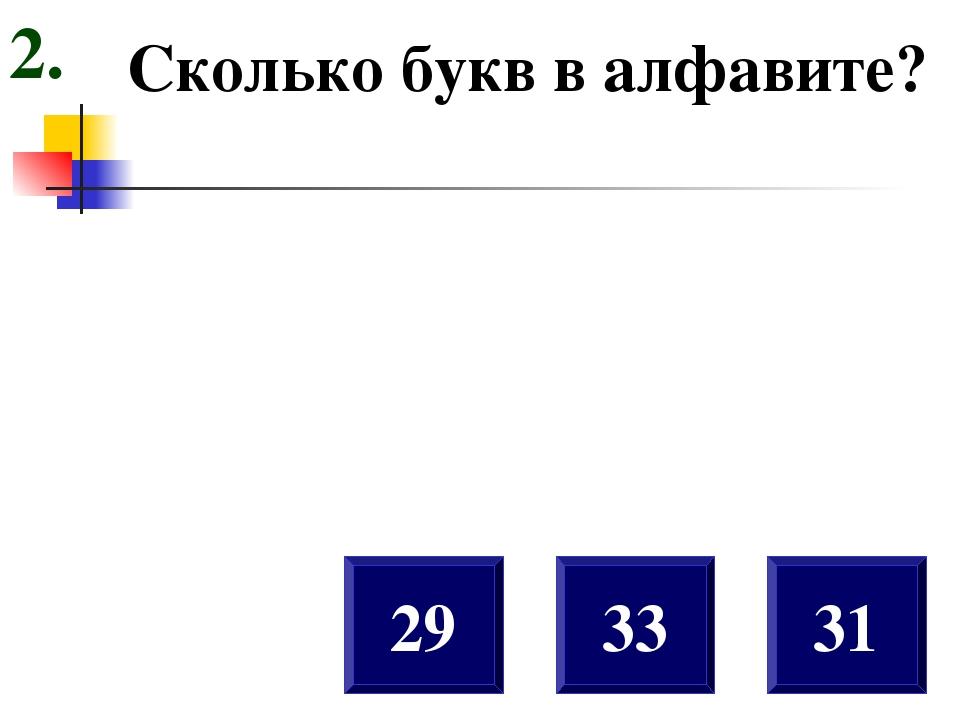 Сколько букв в алфавите? 29 31 33 2.