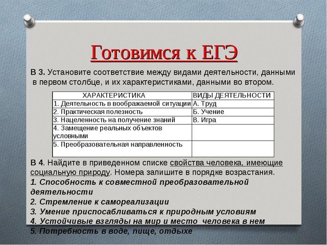Готовимся к ЕГЭ В 3.Установите соответствие между видами деятельности, данны...