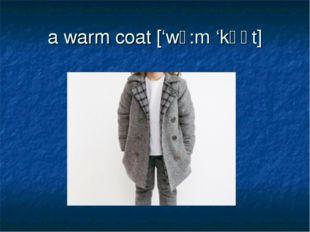 a warm coat ['wɔ:m 'kǝʊt]