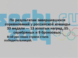 По результатам завершившихся соревнований у российской команды 33 медали — 13