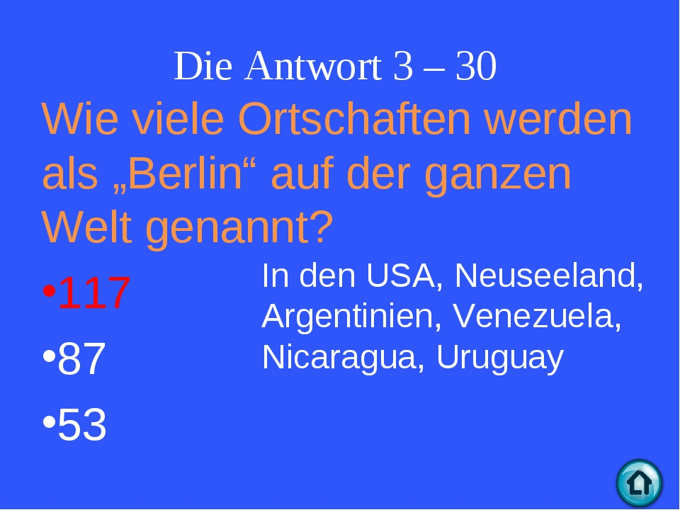 """Die Antwort 3 – 30 Wie viele Ortschaften werden als """"Berlin"""" auf der ganzen W..."""