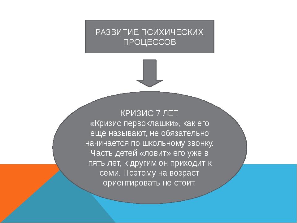 РАЗВИТИЕ ПСИХИЧЕСКИХ ПРОЦЕССОВ КРИЗИС 7 ЛЕТ «Кризис первоклашки», как его ещё...