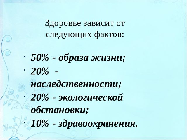 Здоровье зависит от следующих фактов: 50% - образа жизни; 20% - наследственно...