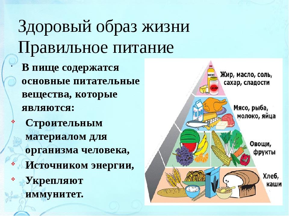 Здоровый образ жизни Правильное питание В пище содержатся основные питательны...
