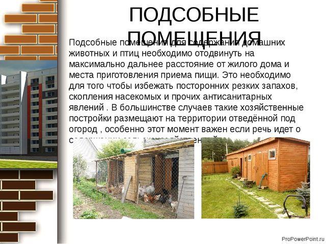ПОДСОБНЫЕ ПОМЕЩЕНИЯ Подсобные помещения для содержания домашних животных и пт...
