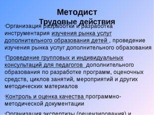Методист Трудовые действия Организация разработки и разработка инструментария