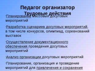 Педагог организатор Трудовые действия Планирование массовых досуговых меропри