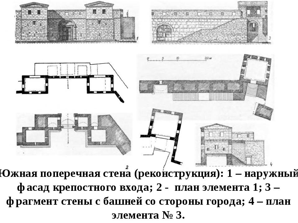 Южная поперечная стена (реконструкция): 1 – наружный фасад крепостного входа;...