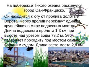 На побережье Тихого океана раскинулся город Сан-Франциско. Он находится кюг