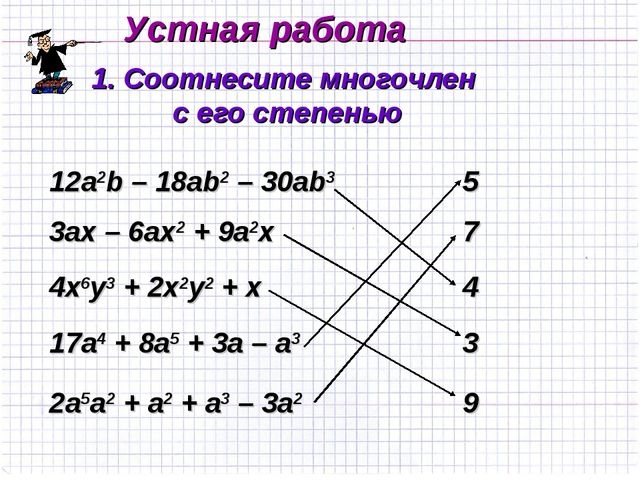 Устная работа 1. Соотнесите многочлен с его степенью 12а2b – 18ab2 – 30ab3 3а...