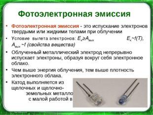 Фотоэлектронная эмиссия Фотоэлектронная эмиссия - это испускание электронов т