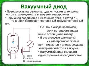 Вакуумный диод Поверхность нагретого катода испускает электроны, поэтому пров