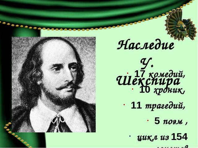 Наследие У. Шекспира 17 комедий, 10 хроник, 11 трагедий, 5 поэм , цикл из 154...