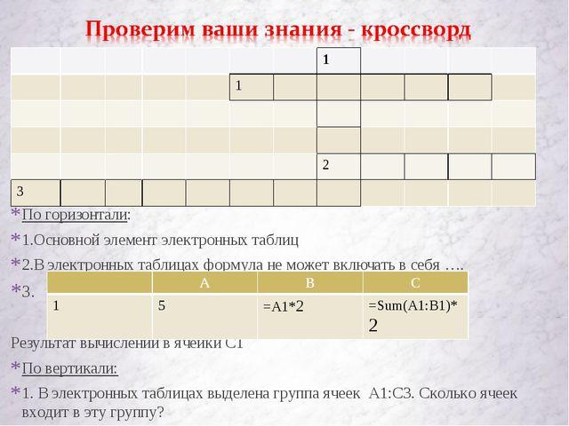 По горизонтали: 1.Основной элемент электронных таблиц 2.В электронных таблица...
