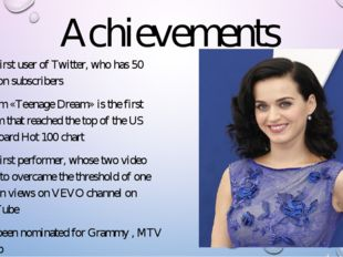 Achievements The first user of Twitter, who has 50 million subscribers Album