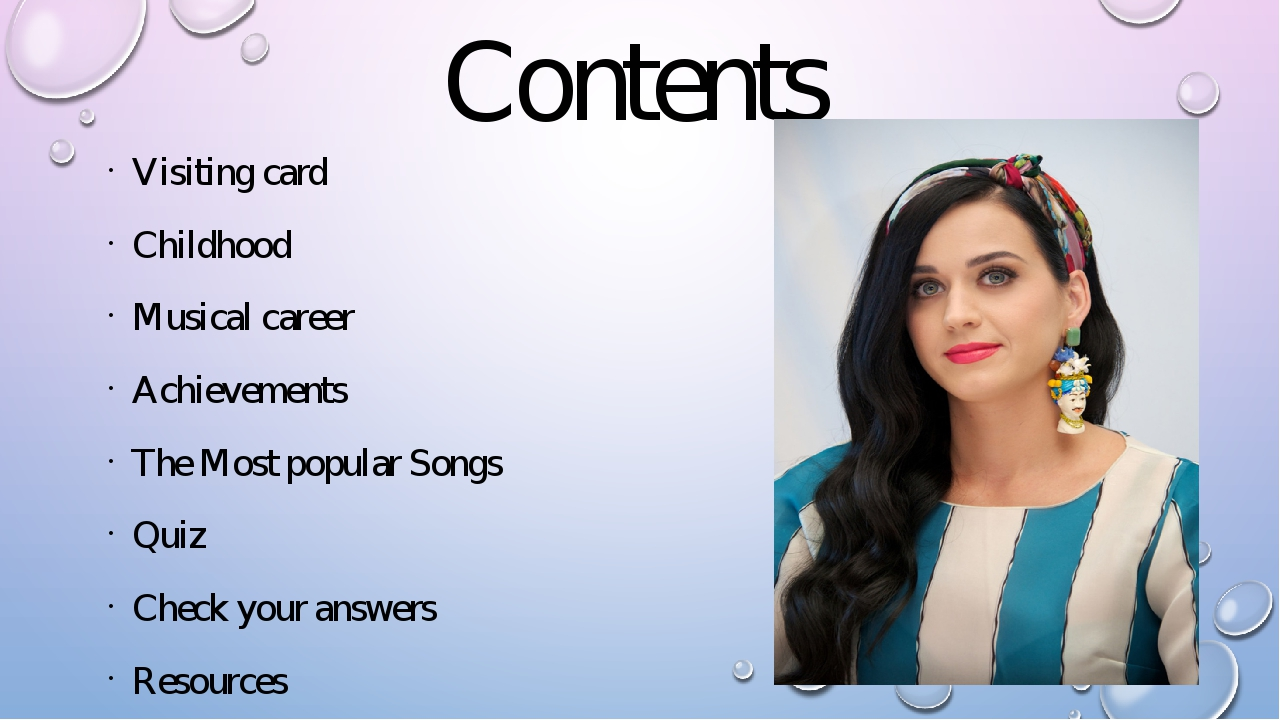 Contents Visiting card Childhood Musical career Achievements The Most popular...