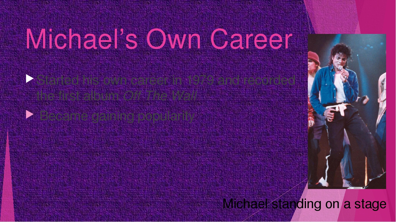 Michael's Own Career Started his own career in 1979 and recorded the first al...