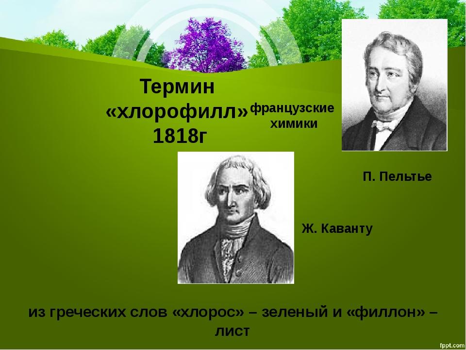 Термин «хлорофилл» 1818г французские химики П.Пельтье Ж.Каванту из гречески...