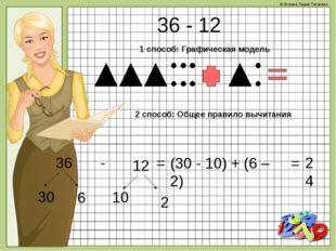 36 - 12 1 способ: Графическая модель 2 способ: Общее правило вычитания = (30