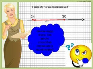 3 способ: По числовой прямой 24 36 -12 Зачем надо знать так много способов сл