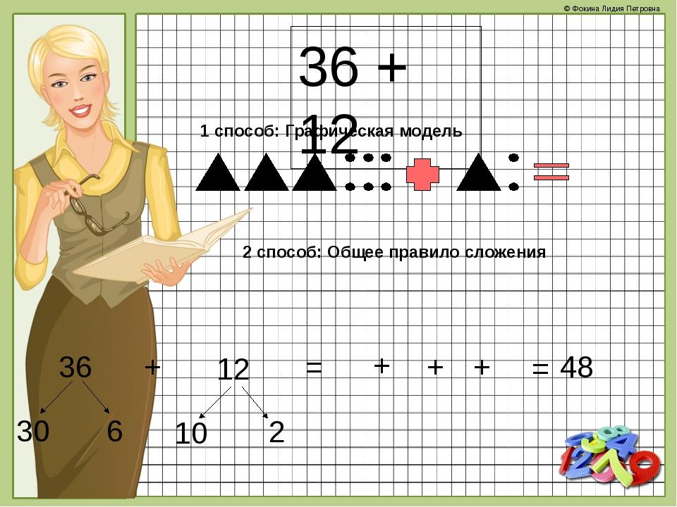 36 + 12 1 способ: Графическая модель 2 способ: Общее правило сложения 36 + 12...