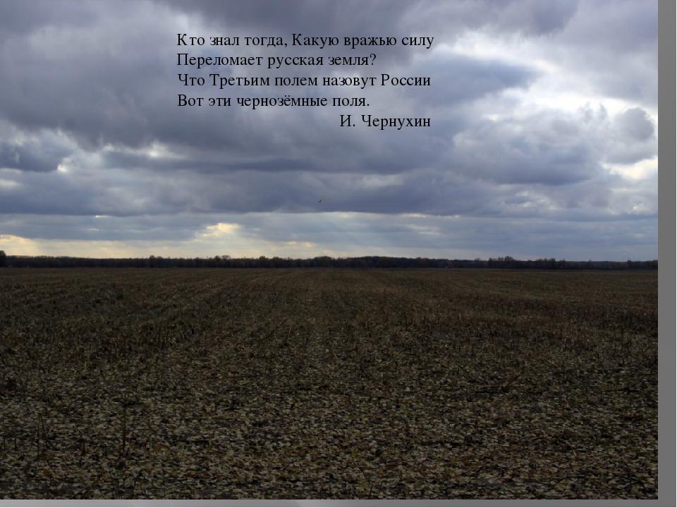 Кто знал тогда, Какую вражью силу Переломает русская земля? Что Третьим поле...