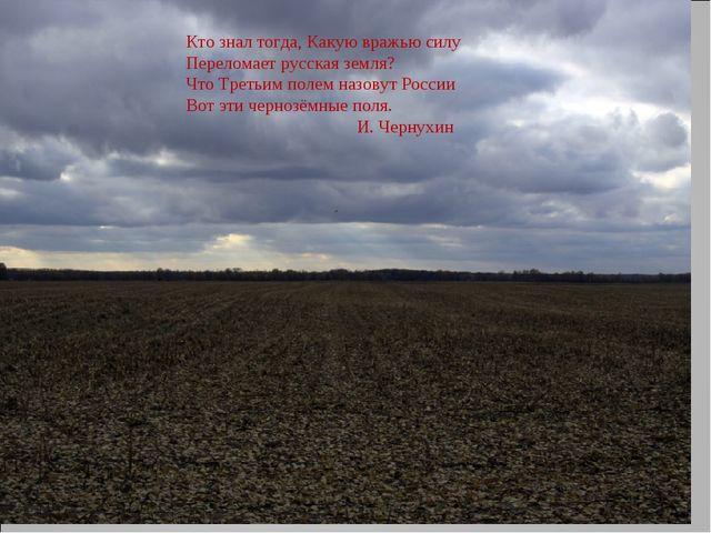 Кто знал тогда, Какую вражью силу Переломает русская земля? Что Третьим полем...