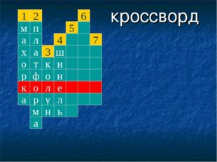 кроссворд 1 м а х о р к а 2 п л а т ф о р м а к о л у н 3 е л ь н и ш 4 5 6 7