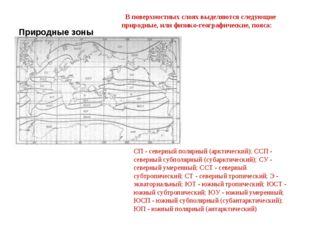 Природные зоны Мирового океана СП - северный полярный (арктический); ССП - се