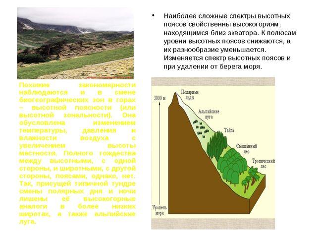 Наиболее сложные спектры высотных поясов свойственны высокогориям, находящимс...