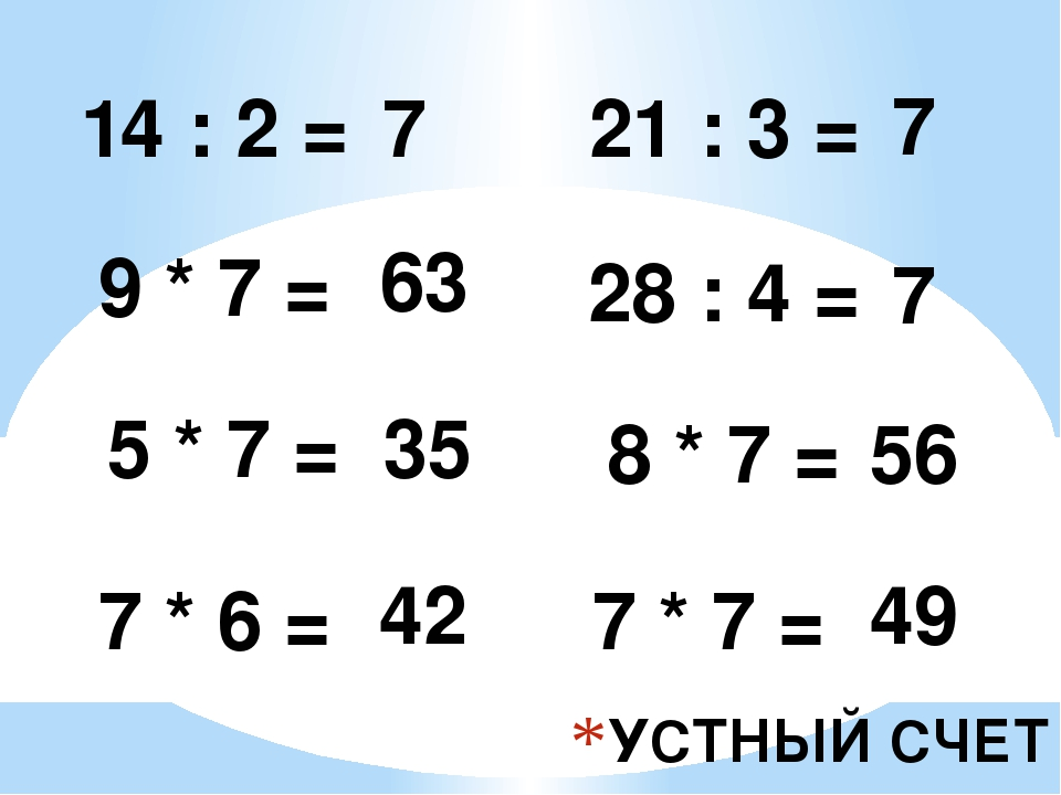 УСТНЫЙ СЧЕТ 14 : 2 = 7 9 * 7 = 5 * 7 = 7 * 6 = 63 35 42 21 : 3 = 7 28 : 4 = 7...