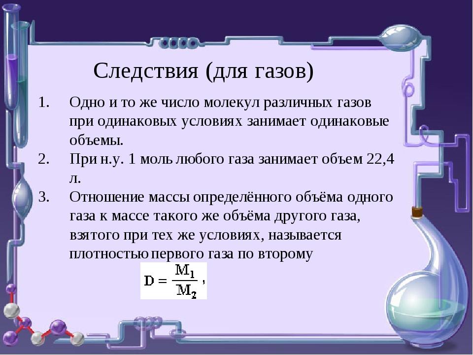 Следствия (для газов) Одно и то же число молекул различных газов при одинаков...