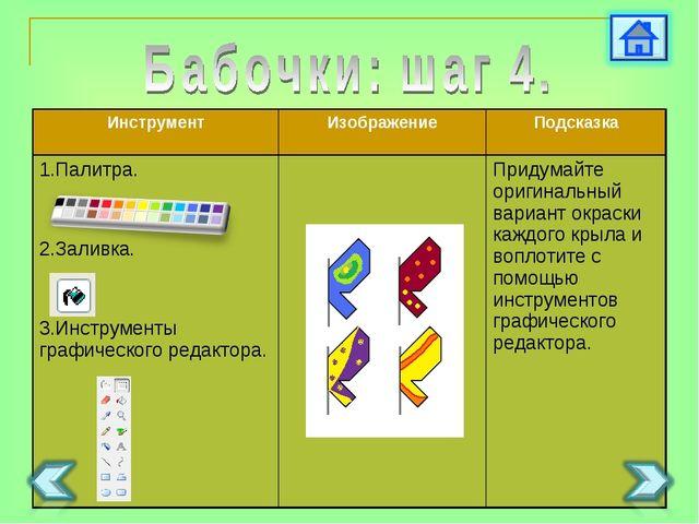 ИнструментИзображениеПодсказка 1.Палитра. 2.Заливка. 3.Инструменты графичес...