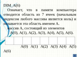 DIM_А(6) А(0) А(1) А(2) А(3) А(4) А(5) А(6) Каждый элемент массива обладает и