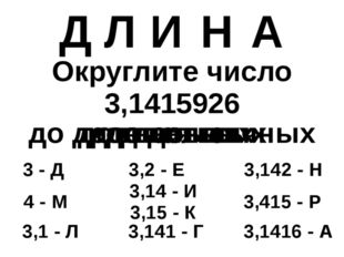 Округлите число 3,1415926 3,142 - Н 3 - Д 4 - М 3,141 - Г 3,15 - К 3,2 - Е 3,