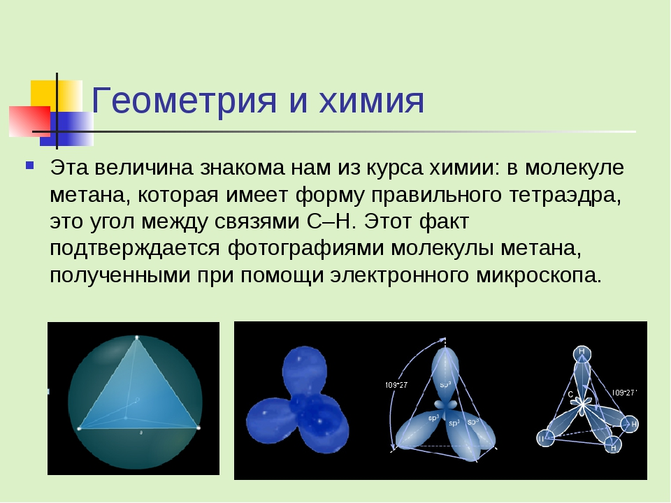 Геометрия и химия Эта величина знакома нам из курса химии: в молекуле метана,...