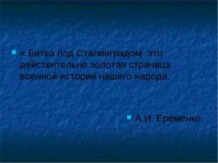 « Битва под Сталинградом- это действительно золотая страница военной истории
