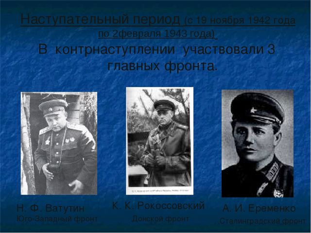 В контрнаступлении участвовали 3 главных фронта. Н. Ф. Ватутин Юго-Западный ф...