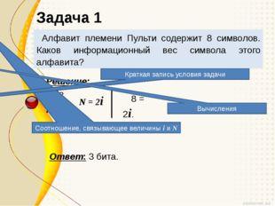 Алфавит племени Пульти содержит 8 символов. Каков информационный вес символа