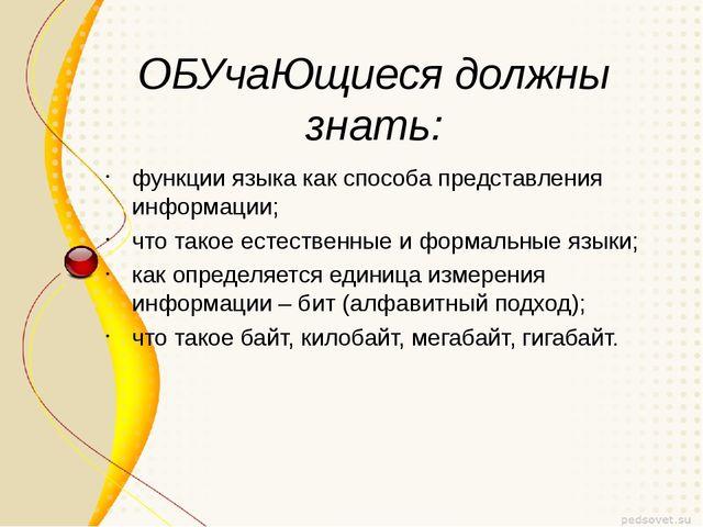 ОБУчаЮщиеся должны знать: функции языка как способа представления информации;...