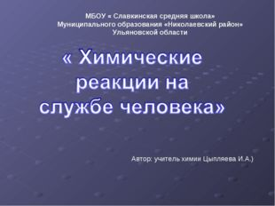 МБОУ « Славкинская средняя школа» Муниципального образования «Николаевский ра