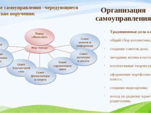Организация самоуправления Традиционные дела класса: общий сбор коллектива; с