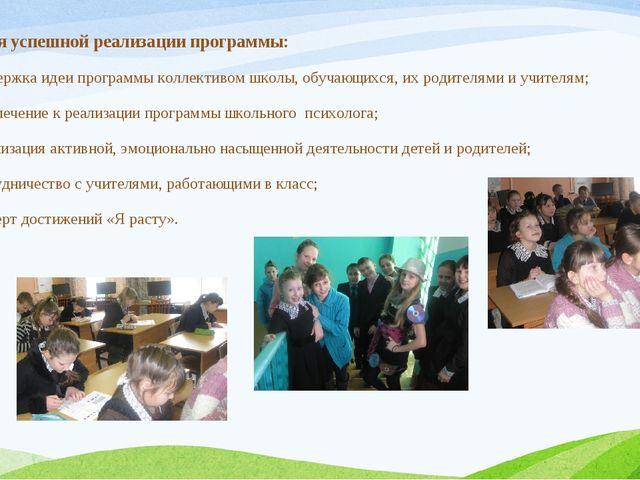 Условия успешной реализации программы: поддержка идеи программы коллективом ш...