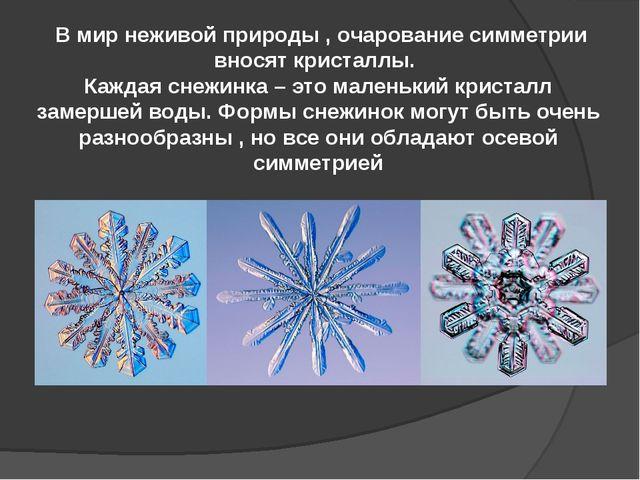 В мир неживой природы , очарование симметрии вносят кристаллы. Каждая снежин...